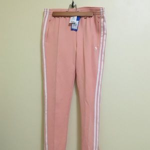 Adidas pink peach track pants